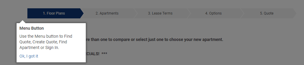 """pop up graphic that says """"use the menu button to find quote, create quote, find apartment, or sign in"""""""