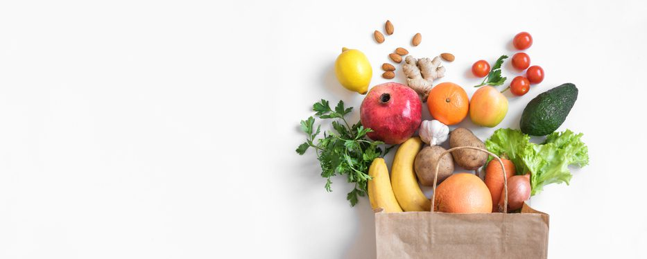 Fruit and vegetables in a bag